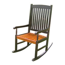International Caravan - International Caravan Wooden Patio Rocker in Black/Oak - International Caravan - Outdoor Gliders and Swings - VF4108BKOK - For over 44 years International Caravan has been one of the leaders in quality outdoor and indoor furniture. Using only the finest materials they bring skill craftsmanship and complete dedication to those who enjoy their furniture. You cannot go wrong with any of International Caravan's beautifully constructed pieces of furniture that are sure to be a focal point inside or outside of your home for years to come.