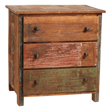 Nantucket 3 Drawer Dresser, Medium Brown - Rustic and relaxed, this attractive Nantucket 3-Drawer Dresser is a wonderful choice for the casual bedroom. The small chest measures just 28 inches across and is perfect to tuck into an unused corner to create valuable storage potential. The dresser is hand-built from reclaimed hardwoods and is finished with distressed paint in a variety of tones over a sealed medium brown wood stain. With character and charm, this wood dresser features antiqued hardware and is a wonderful place to show off a few prized photos.