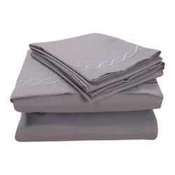 Honeymoon - Honeymoon super soft 4PC Bed Sheet Set, Easy Care, Gray, Queen - Microfiber polyester