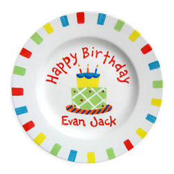 RR - Happy Birthday Cake Boy Personalized Plate - Happy Birthday Cake Boy Personalized Plate
