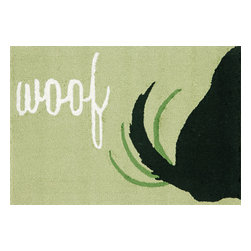 """Trans-Ocean Inc - Woof Green 30"""" x 48"""" Indoor/Outdoor Rug - Richly blended colors add vitality and sophistication to playful novelty designs. Lightweight loosely tufted Indoor Outdoor rugs made of synthetic materials in China and UV stabilized to resist fading. These whimsical rugs are sure to liven up any indoor or outdoor space, and their easy care and durability make them ideal for kitchens, bathrooms, and porches; Primary color: Lt. Green;"""