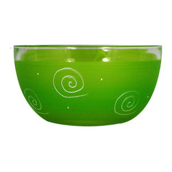 """Frosted Curl Light Green 6"""" Bowl - This lovely hand painted 6"""" bowl is one of our top sellers.  It is light green with accent colors and adorned with curls and dots.  Perfect for any season or occasion. It also works perfectly as a dessert dish.  Something to be handed down from generation to generation.  Proudly hand painted in the USA."""
