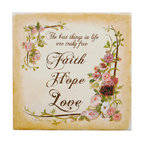 "Tile Art Gallery - The Best Things - Inspirational Quote themed Ceramic Accent Tile - This is a beautiful sublimation printed ceramic tile entitled ""The Best Things"" by artist Charlene Olson. The inscription reads ""The best things in life are truly free: faith, hope, and love."" with a floral border."