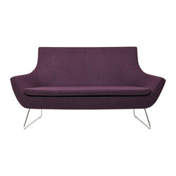 Rebecca Love Seat by sohoConcept - How beautiful is the colorful (or neutral if you prefer) one-piece loveseat? It's available in all sorts of great colors from black leatherette to orange wool. It's a perfect seat for small modern living spaces.