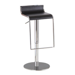J&M Furniture - J&M Furniture C027B-3 Black Leather Barstool - Comfortable and attractive  the curved leather and chrome design of the C027B-3 Bar Stool makes it ideal for contemporary homes. Its solid stainless steel base makes it durable enough for use in any situation. Its hydraulic height adjustment emphasizes its quality. It swivels 360 degrees and has a hydraulic adjustable seat.