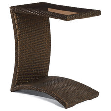 Traditional Outdoor Dining Tables Balencia Bronze Slider Table with Glass Top, Patio Furniture