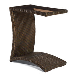 Frontgate - Balencia Bronze Slider Table with Glass Top - Offered in sun-kissed bronze. All tables feature powdercoated steel frames. Makes the perfect addition to any outdoor space. The artfully woven Balencia Bronze Outdoor Tables are beautiful accompaniments to our Balencia chaise lounges. These convenient tables are perfect for holding drinks and snacks.  .  . .