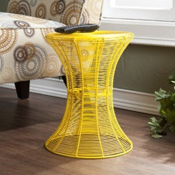 Indoor/Outdoor Round Metal Accent Table - Small light-weight pieces like this are always great to have on hand to move around as needed.This comes in a variety of colors, but the bright yellow is my favorite.