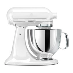 Artisan 5-Quart Stand Mixer - Marshmallow White - Bake a French apple pie, whip up a new batch of chocolate chip cookies, or create the perfect whipped cream with this 5-Quart Stand Mixer. It features 325 watts of mixing power and three attachments for all of your mixing needs. Make bread, batters, mayonnaise, or even meatloaf with the mixer. We love its tilt-back head for easy access to mixtures, and two-piece pouring shield and large chute for adding ingredients. Stainless steel and marshmallow white accents make the eye-catching model a pretty, hardwearing piece for the kitchen pantry.
