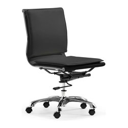 Zuo Modern - Zuo Modern Lider Plus Armless Office Chair, Black - With its ergonomic shape, padded back and seat cushions, the Lider Plus armless chair works in comfort. It has a chromed steel frame with soft neoprene arm pads.