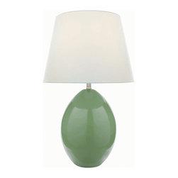 Lite Source - Ceramic Table Lamp, Light Green/White Fabric, E27 A 100W - Ceramic Table Lamp, Light Green/White Fabric, E27 A 100W