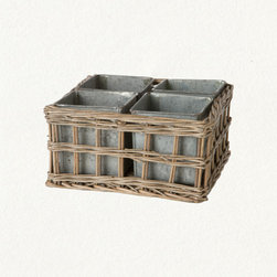 Nested Tray - This tin and wicker tray set is a clever and different way to plant. I think it's the perfect size and shape for a personal indoor herb garden. Do something different.