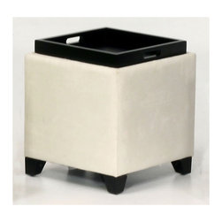 Armen Living - Cube Ottoman - The Storage Ottoman is a wood frame construction on espresso wood feet and covered in an easy to clean microfiber . The top reverses from a padded seat to a convenient serving tray. Great for the family room. Armen Living is the quintessential modern-day furniture designer and manufacturer. With flexibility and speed to market, Armen Living exceeds the customer's expectations at every level of interaction. Armen Living not only delivers sensational products of exceptional quality, but also offers extraordinarily powerful reliability and capability only limited by the imagination. Our client relationships are fully supported and sustained by a stellar name, legendary history, and enduring reputation. The groundbreaking new Armen Living line represents a refreshingly innovative creative collaboration with top designers in the home furnishings industry. The result is a uniquely modern collection gorgeously enhanced by sophisticated retro aesthetics. Armen Living celebrates bold individuality, vibrant youthfulness, sensual refinement, and expert craftsmanship at fiscally sensible price points. Each piece conveys pleasure and exudes self expression while resonating with the contemporary chic lifestyle. Features: -Microfiber.-Top reverses from a padded seat to a convenient serving tray.-Great for the family room.-Wood frame construction on espresso wood feet.-Distressed: No.Specifications: -Storage ottoman from the 530 rainbow series.Dimensions: -Overall dimensions: 20'' H x 17'' W x 17'' D.-Overall Product Weight: 30 lbs.Warranty: -Comes with standard 1 year limited warranty.