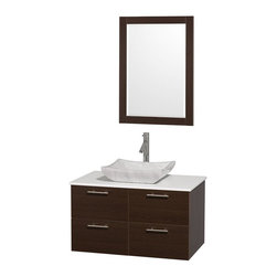 Wyndham Collection - 36 in. Wall Mounted Vanity with Mirror - Includes drain assemblies and P-traps for easy assembly. Faucet not included. Modern clean lines. Eight stage preparation. Veneering and finishing process. Highly water resistant low V.O.C. sealed finish. Unique and striking contemporary design. Deep doweled drawers. Fully extending soft close drawer slides. Soft close door hinges. Single hole faucet mount. Two functional doors. Two functional drawers. Plenty of storage space. White man made stone top. Carrera marble sink. Engineered for durability and to prevent warping and last for lifetime. 0.75 in. thickness mirror. Made from highest quality grade E1 MDF. Metal exterior hardware with brushed chrome finish. Espresso finish. Minimal assembly required. Mirror: 23.75 in. W x 33 in. H. Vanity: 36 in. W x 21.5 in. D x 20.25 in. H. Care Instructions. Assembly Instructions - Sink. Assembly Instructions - MirrorTruly elegant design aesthetic meet affordability in the Wyndham Collection Amare Vanity. The attention to detail on this elegant contemporary vanity is unrivalled.