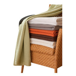 Gilden Tree - Modern Design Waffle Throw Blanket - Premier 100% cotton high-design throw blanket features large waffles, narrow border with tiny waffles and bold color!