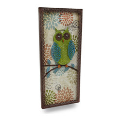 Zeckos - Whimsical Perched Owl Decorative Metal Wall Sculpture Panel - A green, big eyed quilted look owl perches upon a leafy branch with a colorful postage stamp motif backdrop This decorative wall hanging is framed in scalloped edges, and artistically crafted from metal with a wooden backing. It's fraught with befitting weathered details, and looks amazing in entryways, bedrooms, living rooms, porches or even atriums. Measuring 32 inches (81 cm) long, 13.75 inches (35 cm) wide and 1.25 inches (3 cm) deep, it easily hangs using the attached hangers on the back, and makes a wonderful gift any owl lover would be proud to display