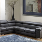 Nicoletti - Nicoletti Angel Dark Grey Leather Sectional Sofa with Left Chaise - This sectional sofa will bring a remarkable accent into your living room decor. The sofa has adjustable headrests covered in genuine Italian leather to become your favorite spot in the house or apartment. Available in Dark Grey finish.