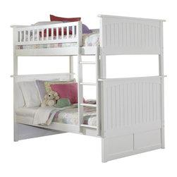 Atlantic Furniture - Atlantic Furniture Nantucket Bunk Bed in White Finish-Twin over Twin - Atlantic Furniture - Bunk Beds - AB59102