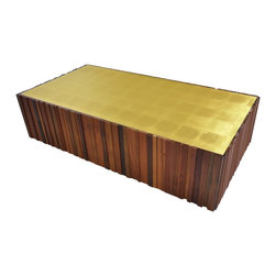 Salvaged Wood and Gold Leaf Coffee Table - From Rotsen's Brazilian Brilliance collection, this coffee table is made with a mix of salvaged wood types and gold leaf. Wood species used: Brazilian ipe, walnut, tamburil.