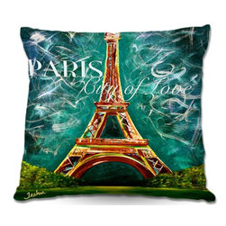 DiaNoche Designs - Pillow Woven Poplin - Lamour a Paris Moonlight - Toss this decorative pillow on any bed, sofa or chair, and add personality to your chic and stylish decor. Lay your head against your new art and relax! Made of woven Poly-Poplin.  Includes a cushy supportive pillow insert, zipped inside. Dye Sublimation printing adheres the ink to the material for long life and durability. Double Sided Print, Machine Washable, Product may vary slightly from image.