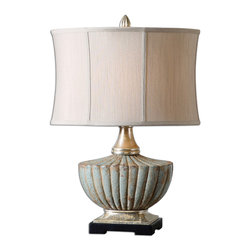 "Uttermost - Civitella Blue Ceramic Lamp - This lamp could be called an ""ode to a Grecian urn."" The beautiful crackled blue ceramic base has antique silver details and a sandstone undertone. It's casual yet classy and will enhance your room while lighting your way."