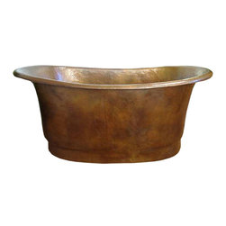 """myCustomMade - Custom Hammered Copper Tub, Antique, 72"""" Size, Drain-Size - This custom hammered copper tub is a good idea for upgrading a bathroom. The tub is hand crafted of sixteen gauge copper in all standard sizes. The width of all models is 33 and the maximum height 36 inches. A copper tub can be further customized with patina of choice. Applicable finishing includs uniform honey, rustic natural, old looking antique and dark coffee. A built-in drain-back system is available as an option. It is made of copper tubing preventing water overflowing and flooding the bathroom. Copper Tub #114100009 image may not show accurate proportions nor the patina color."""