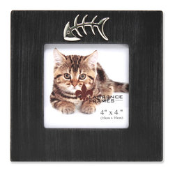 "Lawrence Frames - 4x4 Black Wash Cat Frame with Fish Bone Ornament - What better way to show off that great photo of your adorable cat than with this high quality picture frame!  Beautifully distressed for a casual designer look.  Hand finished and weathered so that no two frames are alike. Decorated with a beautiful and playful chrome ""fish bone"" ornament. Finished with a high quality black masonite backing for tabletop display.  This frame comes with glass to protect your photo, and is Individually boxed."