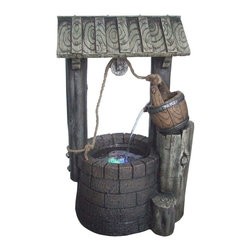 Yosemite Home Decor - Yosemite Home Decor Limestone Rock Well Indoor / Outdoor Fountain X-26048WC - This old-fashioned fountain has one stream of water pouring out of the wooden bucket into the LED-illuminated well below. It uses dark natural colors and adds touches like rope and intricate detailing to make this polyresin fountain look just like an old water well. Approved for indoor or outdoor use.