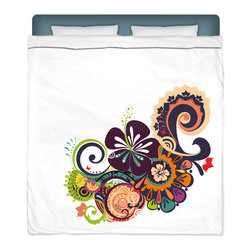"""Eco Friendly """"Hawaiian Hibiscus and Funky Wave"""" Queen Size Sheet Set - Queen Size Hawaiian Hibiscus Sheet Set is made of a lightweight microfiber for the ultimate experience in softness~ extremely breathable!"""