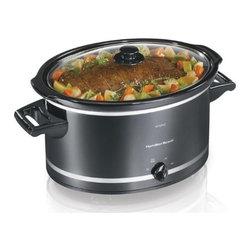 HAM.BEACH/PROCTOR SILEX - 8 Quart Slow Cooker Black/Silver - Features: