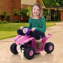 Lil Rider - Lil Rider Pink Princess Mini Quad 4 Wheeler ATV Battery Powered Riding Toy - 80- - Shop for Tricycles and Riding Toys from Hayneedle.com! Because you want her to get as much practice as possible before she turns 16 there's the Lil Rider Pink Princess Mini Quad Ride-on Car Four Wheeler. Watch her develop confidence and independence as she cruises your neighborhood's sidewalks at speeds up to 2mph. Requires constant adult supervision. Keep children away from roads and moving vehicles. This car is meant for riders up to 55 pounds. A 6 Volt rechargeable battery and charger are included.