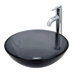Vigo - Sheer Black Glass Vessel Sink and Faucet Set in Chrome - The VIGO Sheer Black glass vessel sink with Chrome faucet set will bring a modern flair to your home.