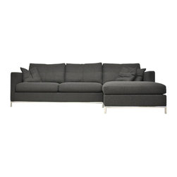 sohoConcept - Istanbul Sectional Sofa w Chaise (Left) - Choose Chaise Side: LeftPictured in Grey. Made of Wool Fabric. A stylish sectional sofa with very comfortable cushion. Frame on continuous tubular metal base which has cylindrical chromed steel legs tipped with plastic glides. Solid hardwood frame. The loose removable cushions are zippered and filled with down and feather. The frame is upholstered with removable velcro enclosed wool fabric or fixed leather slip cover. The sofa is perfect solution for both commercial and residential applications. Black finish. 105 in. L x 67 in. W x 26 in. H, Seat Height: 17 in.