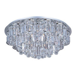 ET2 Lighting - ET2 Lighting Bangle 20-Light Flush Mount - E23258-20PC - Shimmering like fine jewelry, the Bangle Collection combines strands of square-cut crystal supported by Polished Chrome frames. The clear natural light of xenon lamps enhances the sparkle