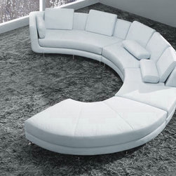 White Leather Curved Sectional Sofa with Ottoman - Features: