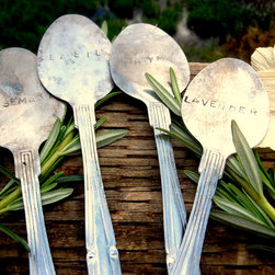 Flattened Stamped Spoon Herb Labels by Everlasting Spoonful - While I love all of my gardening, my herb garden is my special favorite. I believe it needs these stamped spoon herb labels to look its finest.