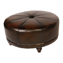 Vintage Furniture Classics - Antiqued Leather Round ottoman- Nail trim - Vintage Furniture Classics crafts beautifully upholstered furniture using European leather. They make a variety of styles from urban to classic and contemporary, you are sure to find a product that suits your home decor. Whatever you are looking for, Vintage Furniture Classics makes furniture to accent anyone's taste. With such great materials, expert stitching, and design ideas you're able to find just that right piece!