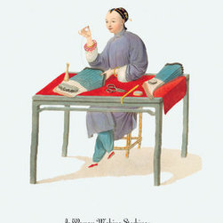 Buyenlarge - A Woman Making Stockings 24x36 Giclee - Series: China - Costumes & Occupations