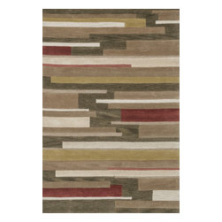 """Loloi Rugs - Loloi Rugs Abacus Collection - Olive / Gold, 3'-6"""" x 5'-6"""" - The Abacus Collection from China features a trendy series of rugs that pack a modern punch. Its poly-acrylic hand-tufted construction has the look and feel of wool while offering everlasting durability. What's more, its fun patterns are accented by an alluring looped texture that partners well with the cut pile for an added dimension of visual interest."""