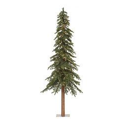 "Vickerman - Natural Alpine Tree 1545T 500CL (9' x 56"") - 9' Tree W/ 1545 Tips, 100%Pvc, 0.07+0.11+0.11Mm Thickness, Ul 500 Dura-Lit Clear Lt, In Bmd Base, 56"" Girth"