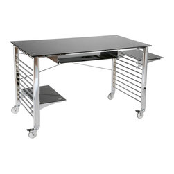 Eurø Style - Brian Desk with Black Printed Glass Top - This sleek Brian Desk by Eur Style is highlighted by tempered black printed glass top supported by chromed steel base, two adjustable tempered glass shelves for your storage needs and 24 tempered glass keyboard tray. The desk is also available with clear glass top.