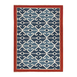 "Jaipur Rugs - Flat Weave Tribal Pattern Multicolor Wool Handmade Rug AT03 - Anchor your room with a rug that will make the rest of your furniture shine. This modern spin on a traditional ""kilim"" looks as great against leather as light upholstery. Its intricate blue and white pattern is the perfect eclectic touch that will tie your statement accessories and antique shop finds beautifully together."