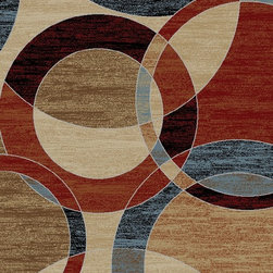 Ottomanson - Dark Green Copper Contemporary Circles Design Area Rug - Manhattan Collection offers a wide variety of machine made modern design area rugs with high, durable, stain-resistant pile in trendy colors.
