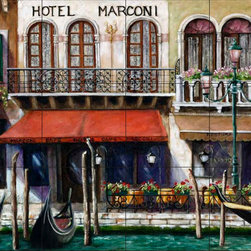 The Tile Mural Store (USA) - Tile Mural - Cafe 3 - Kitchen Backsplash Ideas - This beautiful artwork by Malenda Trick has been digitally reproduced for tiles and depicts a street scene with a cafe.  This street scene tile mural would be perfect as part of your kitchen backsplash tile project or your tub and shower surround bathroom tile project. Street scenes images on tiles add a unique element to your tiling project and are a great kitchen backsplash idea. Use a street scene tile mural, perhaps a Tuscan theme tile mural, for a wall tile project in any room in your home where you want to add interesting wall tile.