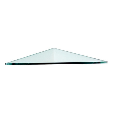 "Floating Glass Shelves - Floating Glass Shelves Wall Shelves Hooks & Racks 3/8 in. Triangle Glass - Shop for Decor at The Home Depot. 16 in. x 16 in. clear triangle floating glass shelf for ""corner"" application. ""No hardware"" is needed for installation making it a ""frameless"" shelf. This is possible by ""slicing out small grooves into the wall"". In addition the backside edge of the shelf comes with ""protruding tabs"". These tabs add solid support once inserted into the grooves. The installation may take some time but it's worth the effort. The end result is a clean look where all you see is just glass.This shelf is for interior and exterior use. It may be mounted in any corner of the house. The ""clear glass"" can complement many styles of home decor. This shelf does extremely well in a shower area as it has ""no metal that can rust""."