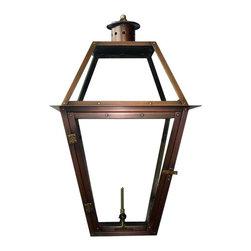 "Primo Lanterns - Primo Lanterns PL-27 St. Ann 27"" Outdoor Wall-Mounted Lantern in Natural Gas Con - Primo Lanterns PL-27 St. Ann 27"" Outdoor Wall-Mounted Lantern in Natural Gas Configuration, with ValveAdd Southern Charm and character to any outdoor area with a gas burning wall lantern from Primo Lanterns. Hand made from pure copper, these lanterns are antique-finished and clear-coated for a breathtaking appearance. The dancing pecan leaf flame will captivate with its splendor, and its warm glow will offer relaxing illumination wherever this lantern is located.Primo Lanterns PL-27 Features:"