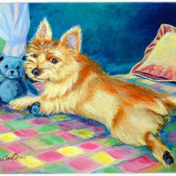 Caroline's Treasures - Norwich Terrier Kitchen or Bath Mat 24x36 - Kitchen or Bath COMFORT FLOOR MAT This mat is 24 inch by 36 inch.  Comfort Mat / Carpet / Rug that is Made and Printed in the USA. A foam cushion is attached to the bottom of the mat for comfort when standing. The mat has been permenantly dyed for moderate traffic. Durable and fade resistant. The back of the mat is rubber backed to keep the mat from slipping on a smooth floor. Use pressure and water from garden hose or power washer to clean the mat.  Vacuuming only with the hard wood floor setting, as to not pull up the knap of the felt.   Avoid soap or cleaner that produces suds when cleaning.  It will be difficult to get the suds out of the mat.