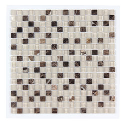 Stone & Co - Stone & Co Mosaic Glass and Stone Mix 5/8 x 5/8 Glass Mosaic Tile Mag 4445 SQ - Finish: Polished / Shiny / Matt
