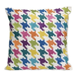 "IMAX - Abrielle Embroidered Pillow - The Abrielle pillow features a digital look, with a colorful embroidered houndstooth pattern over a cotton twill cover. Item Dimensions: (18""h x 18""w x 6.5"")"