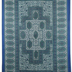 Twin Size Blue Indian Handloom Tapestry Wall Hanging Decor Art -